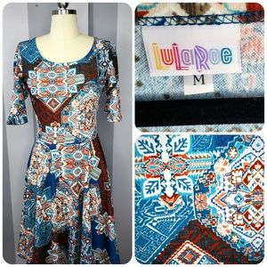 LuLaRoe M NICOLE- Turquoise Brown Aztec - Like New